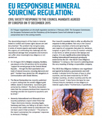 Cover EU Responsible Mineral Sourcing Regulation