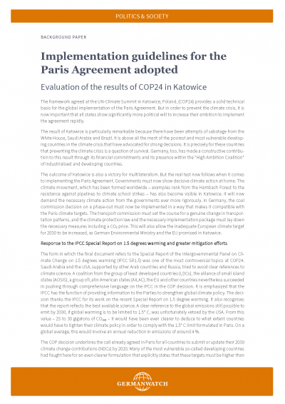 Implementation guidelines for the Paris Agreement adopted
