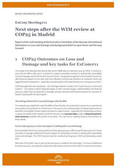ExCom Meeting #11: Next steps after the WIM review at COP25 in Madrid