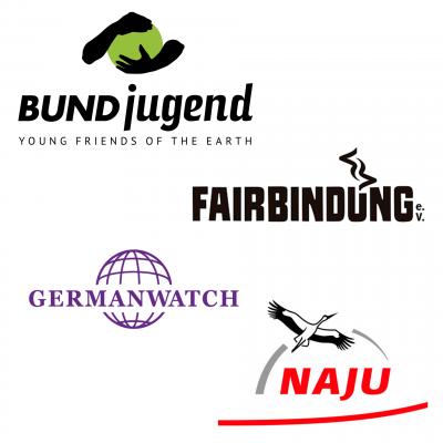 Logoleiste Germanwatch,                                        BUNDjugend, NAJU, Fairbindung