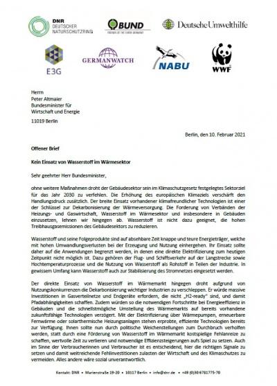 Offener Brief: Kein Einsatz von Wasserstoff im Wärmesektor